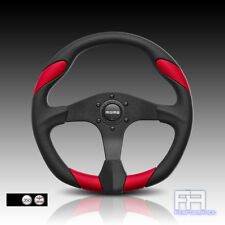 MOMO QUARK Red Leather insert 350mm Tuning Steering Wheel + Horn -Black Urethane