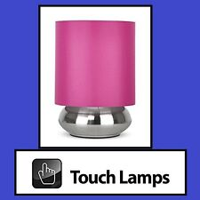 PINK SHADE & BRUSHED CHROME BASE TOUCH TABLE/BEDSIDE LAMP (4 TOUCH SETTINGS)