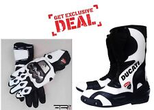 Ducati Motorbike Cowhide Leather Boots Racing Motorcycle Shoe W/ race gloves CE