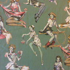AH207 Zombie Pinup Girls 50's Retro Halloween Goth Punk Cotton Quilt Fabric