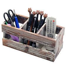 3 Compartment Torched Wood Desktop Office Supplies Desk Organizer Storage Holder