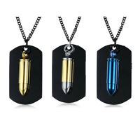 Alloy Army Military Bullet Black Dog Tag Mens Pendant Necklace Chain Xmas Gift