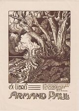 § EX-LIBRIS Armand PAUL par Hubert DUPOND (1926) Belgique §