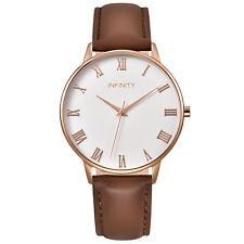 Infinity NB 06 Pearlwhite & Rosegold Women Minimalist Watch - Brown Leather Belt