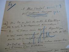 JULES HURET Manuscrit Autographe 1900 INTERVIEW HISTORIEN ALBERT VANDAL Rare