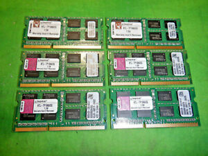 KTL-TP1066/2G KINGSTON LAPTOP MEMORY 2GB DDR3 PC3-8500 LOT OF 6 @4