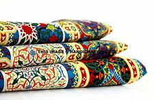 Indian Cotton Fabric Sewing Printed Dressmaking Material Yellow Floral 5 Yard