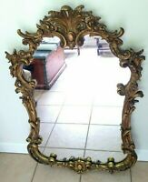 """Antique  Rococo Giltwood Highly Ornate Carved Mirror 28"""" W x 44""""H"""