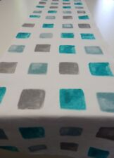 Decorative Table Runner - Aqua Grey Squares on White  150cm x 35cm