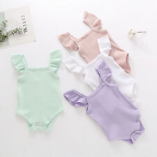 Infant Infant Baby Girls Boys Solid Ruffles Romper Bodysuit Outfits Clothes