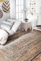 3'X12' Feet Rectangle Braided Rug Denim Jute Floor Mat Handmade Reversible Rugs