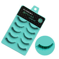 NEW 5 Pairs Nature Short Cross Makeup Handmade False Eyelashes Daily Eye Lashes