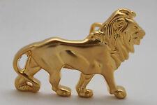 New Women Fashion Lion Buckle Matte Gold Metal Plate Narrow Belt Animal Safari