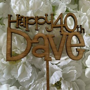 Personalised Happy Birthday Cake Topper, with name & age, various colours / wood