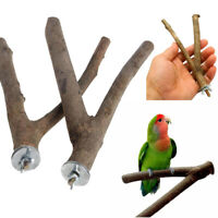 1 PC Pet Parrot Raw Wood Fork Stand Rack Toy Branch Perches For Bird Cage New