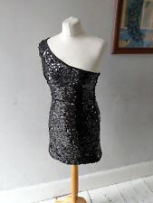 ATMOSPHERE WOMENS LADIES STUNNING SEQUIN ONE SHOULDER PARTY DRESS SIZE 8 BLACK