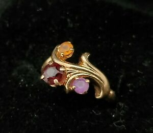 Vintage 14k Gold Amethyst Garnet Topaz Ring ~ Sz 4 ~ 3.2 grams