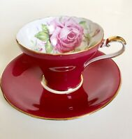 RARE Vintage Aynsley Bailey-type Cabbage Rose Burgundy Red Corset Cup Saucer 957