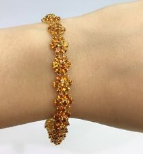 14k Solid Gold  Flower Cluster Bracelet, Natural Citrine 22TCW, 7.5inches