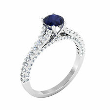 Real 0.86 Ct Diamond Engagement Blue Sapphire Ring 14k White Gold Size N M H O I