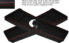 RED STITCH 2X B PILLAR LEATHER SKIN COVERS FITS BMW E46 COUPE 98-05