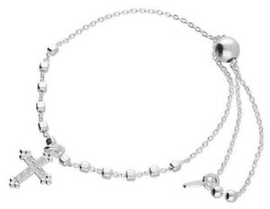 925 HALLMARKED ITALIAN SILVER SLIDER FRIENDSHIP BRACELET WITH CROSS CHARM