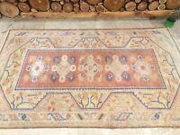 3'11''x6'5'' Vintage Turkish Rug,Antique Ushak Carpet,Large Wide Oushak Runner