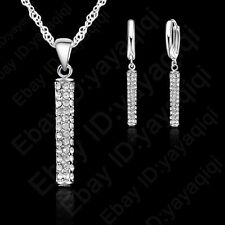 New Arrival Austrian Crystal Long Piece Earring Necklace Jewelry Set For Women