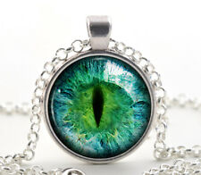 Green Cat Eye Necklace - Colorful Art Jewelry Gift - Silver Glass Photo Pendant