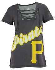 FOCO Women's MLB Pittsburgh Pirates Big Logo Lace up Tee Shirt