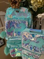Justice Aqua Green Unicorn Flip Sequin Bling School Backpack & Lunchbox