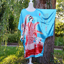Déshabillé chemise de nuit caftan taille unique 38 ↔️ 50 bleu Chinois ZAZA2CATS