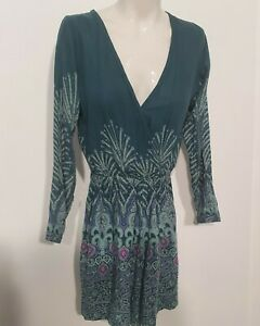 Oneill Teal Green Floral Long Sleeve Romper Playsuit Sz 8