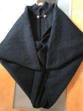 Alpaca Cape Poncho Black Womens Fashion Cloak One Size