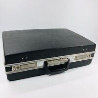 Vintage Hard Case Suitcase Briefcase Black with silver trim 18 x 12 x 5 (SHLF)