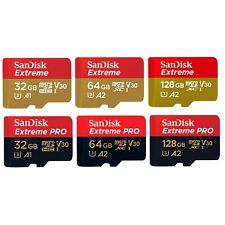 SanDisk Micro SD Extreme Pro 32GB 64GB 128GB 256GB Class 10 Memory Card +Adapter