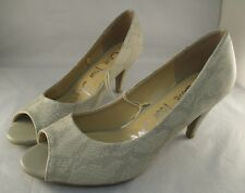 "GEORGE LADIES FAUX SNAKESKIN 3.25"" HEEL SHOES PEEP TOE COURT  Size UK  5  NWOT"