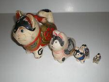4 Antique Composition Ceramic Oriental Cat Dogs Figurines Inuhariko Papier-mache