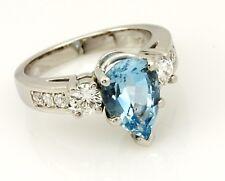 Yael Platinum Aquamarine 2.25ct engagement ring 0.60ctw diamonds size 6.25 9.14g