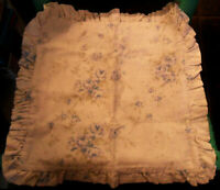 Cut-label Simply Shabby Chic Blue British Rose PILLOW COVER Case, Linen / Cotton