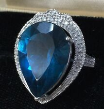 Natural London Blue Topaz and Diamonds in 14K White Gold Ring Size 8