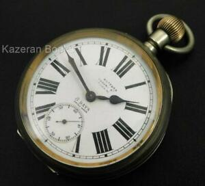Working Chunky Antique Omega Goliath 8 Day Nickel Case Fob Pocket Watch 30'''cal