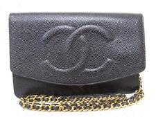 rk5107 Auth CHANEL Black Caviar Skin CC WOC Wallet On Chain Shoulder Bag