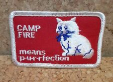 Camp Fire Girls Means Purrfection 1970s vintage cat patch