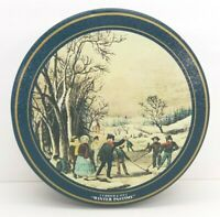 "Currier & Ives ""Winter Pastime"" 7"" Round Tin"