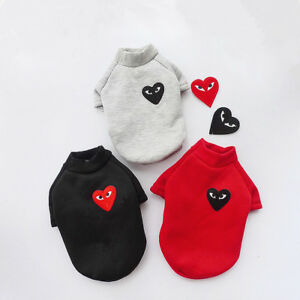 Fashion Red Love Heart Pet Puppy Small Dog Cat Pet Hoodie Spring Warm Coat