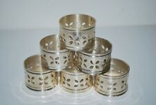 Vintage Gold Tone Four Leaf Flower Tin/Metal Napkin Rings * Lot of 6