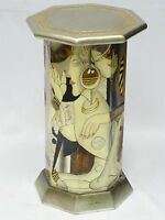 VINTAGE 70's SIGNED SILVER CARVED WOOD LACQUER PEDESTAL / STAND