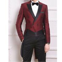 Mens Wedding Tuxedo Coat Pants 2 Piece Suit Dress Formal Double-Breasted Slim