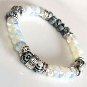 Moonstone,black/white Gemstone beads & Links Of London silver - Bracelet sm-med